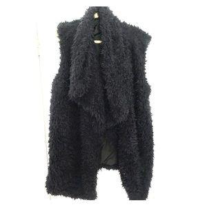 Faux fur navy blue vest